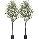 CROSOFMI Artificial Olive Tree Plant 5.9 Feet Fake Topiary Silk Tree, Perfect Faux Plants in Pot for Indoor Outdoor House Hom