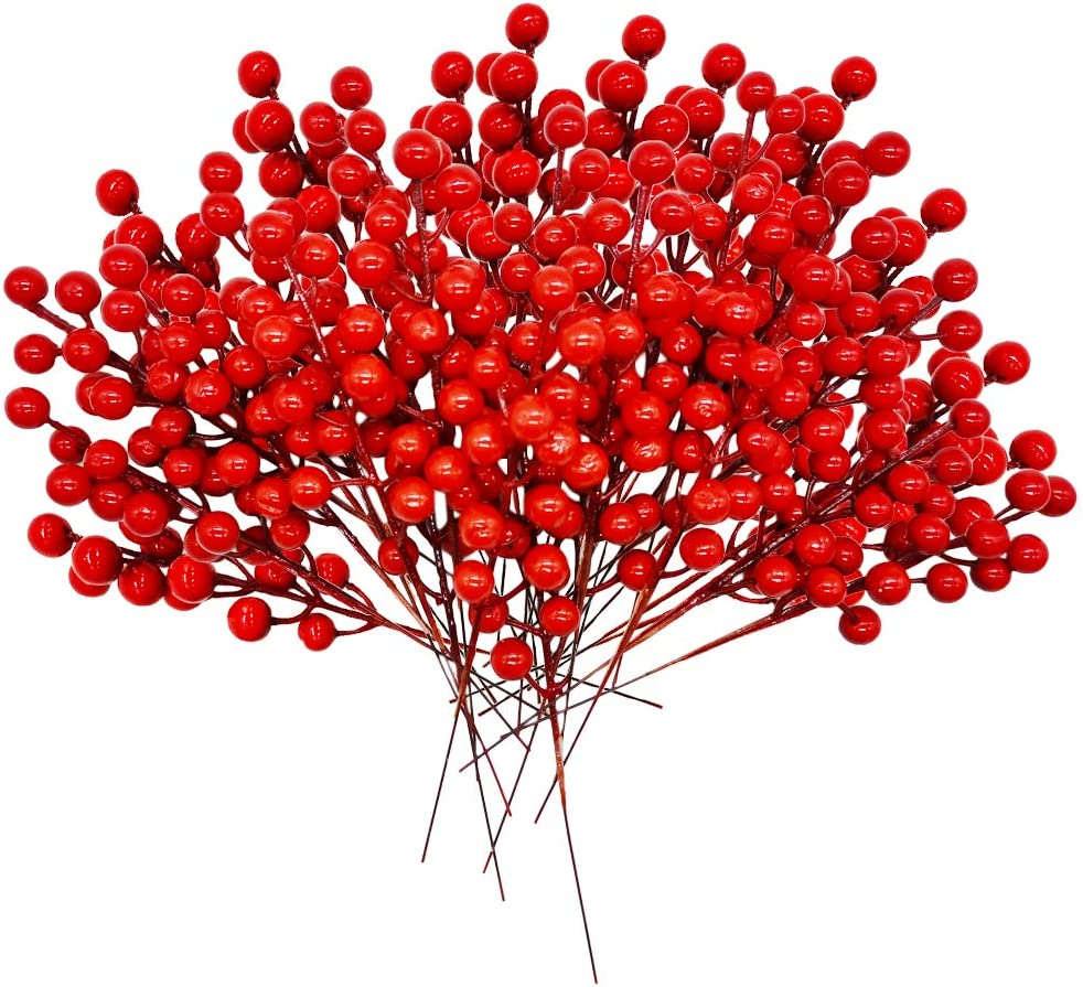 Haawooky 30 Pcs Rich Red Artificial Berry Stems Christmas Red Berry Picks,Winter Fake Berries Bunch Faux Cranberries for Holiday and Home Decor