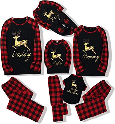 DERCLIVE Family Christmas Matching Clothes Outfits Set Pajamas