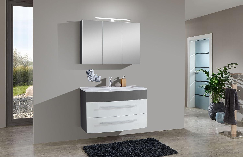 Sam Design Badmobel Set Genf 2tlg In Weiss Grau 100 Cm Breite