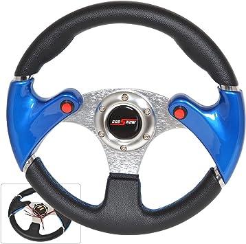 Rxmotor Drifting Deep Dish 350mm 6 Hole Sports Steering Wheel Blue Racing Trim Universal BLUE