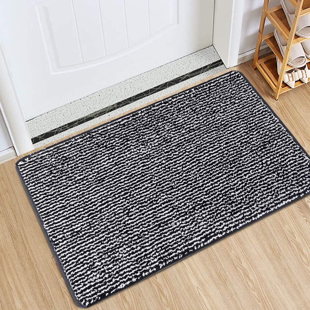 Indoor Doormat Front Door Mat Non Slip Rubber Backing Super Absorbent Mud And Snow Magic Dirts Trapper Mats Entrance Door Rug Shoes Mat Machine Washable Carpet Black 20 X 32