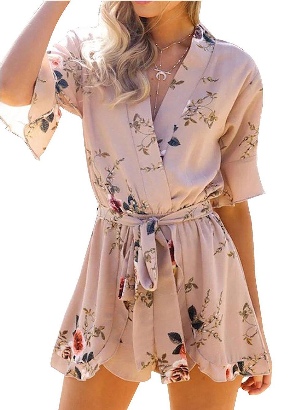 Famulily Women's Boho Floral Print Flare Sleeve Tie Waist Romper Jumpsuit Beachwear