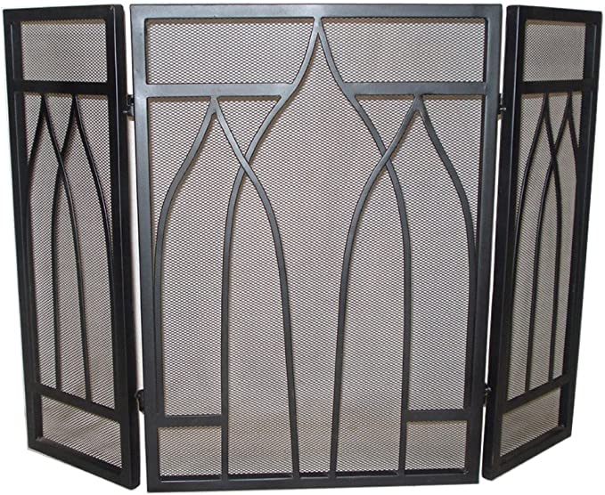 3 Fold Black Wrought Iron Firescreen by Lado: Amazon.es: Hogar
