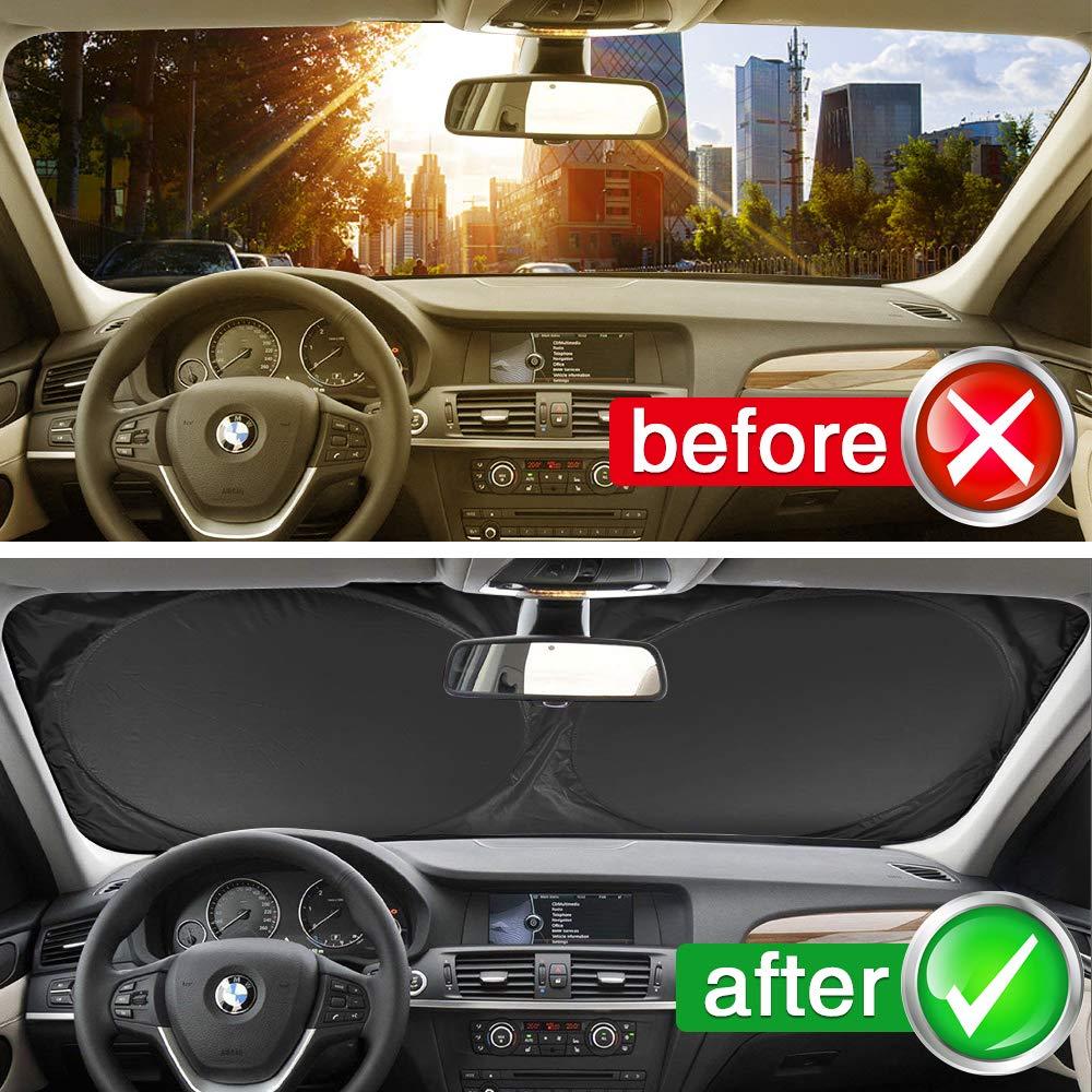mixigoo Windshield Sun Shade 59 x 27.5 Keep Your Vehicle Cool Blocks UV Rays Sun Visor Protector Car Sun Shade Foldable Sunshade for Car SUV Trucks Minivans Sliver