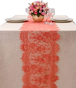 crisky 14x120 Inch Coral Lace Table Runnerswith Rose Vintage Embroidered, Thin, Summer Wedding Reception Table Decoration Baby & Bridal Shower Party Decor