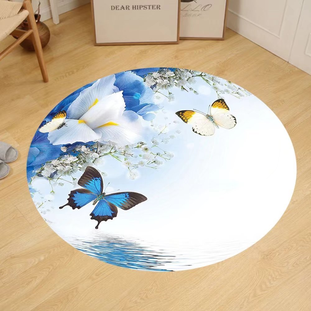 Gzhihine Custom round floor mat Floral Blue and White Wild Flowers with Monarch Butterflies Lily Therapy Zen Spa Art Prints Bedroom Living Room Dorm Light Blue