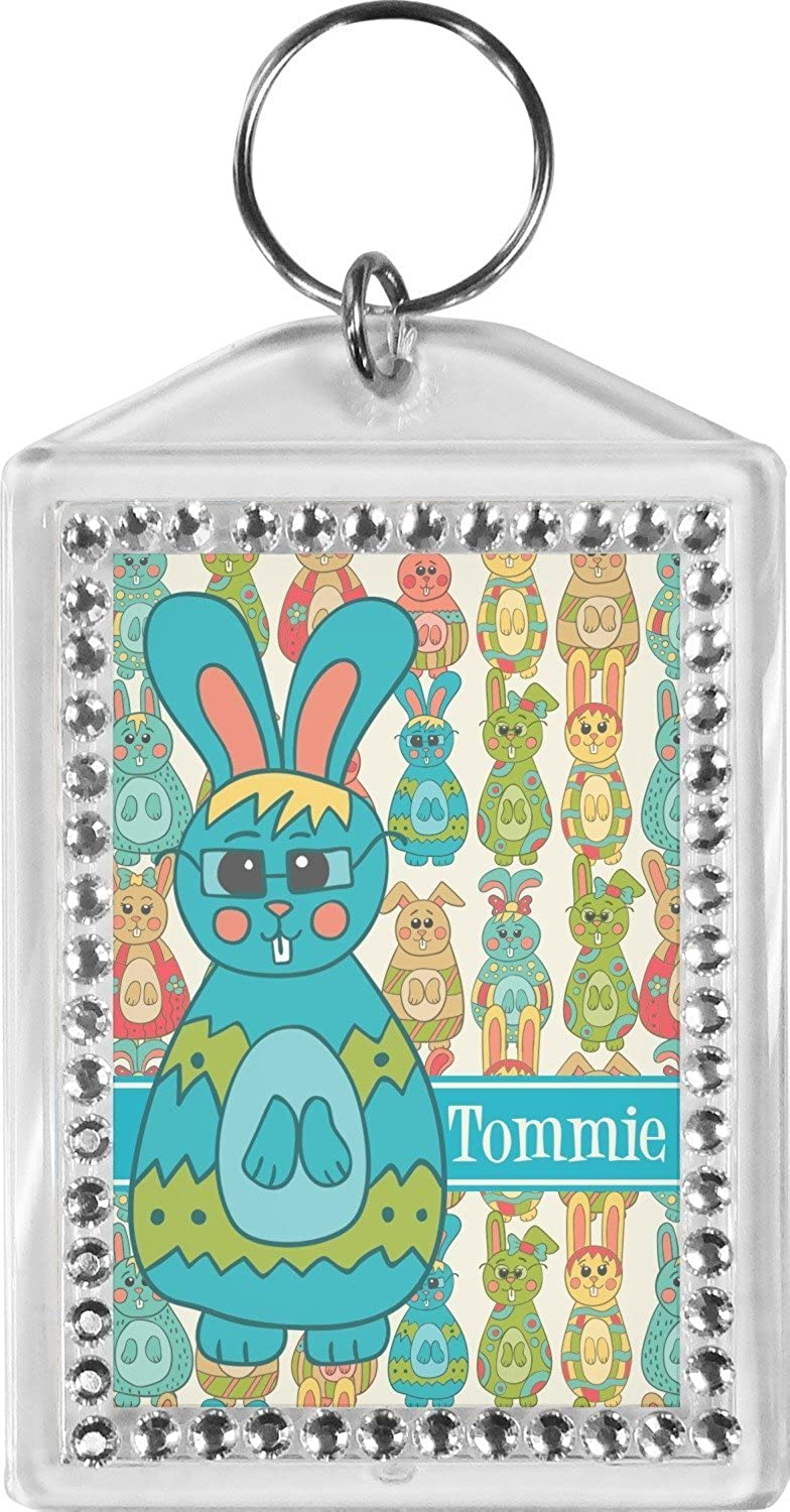 Fun Easter Bunnies Bling Keychain (Personalized)