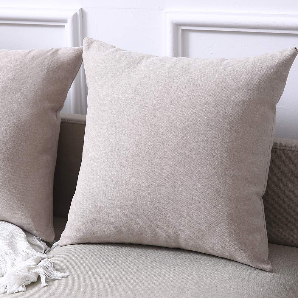 Madizz Pack of 2 Soft Plush Short Wool Velvet Decorative Throw Pillow Covers Luxury Style Cushion Case Pillow Shell for Sofa Bedroom Square White 18x18 inch