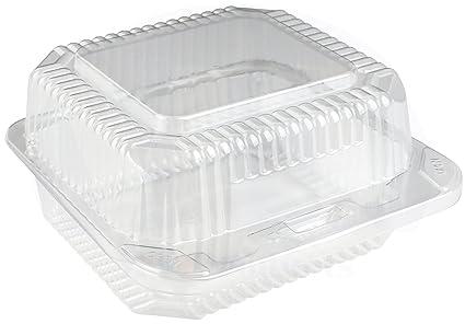 Clear Plastic Medium Square Hinged Food Container, 5u0026quot; Length X 5u0026quot;  Width X