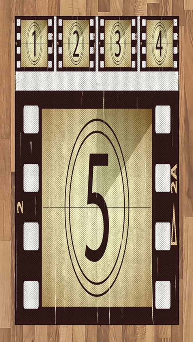 Ambesonne Movie Theater Area Rug, Scratched Film Strips Vintage Movie Frame Pattern Grunge Illustration, Flat Woven Accent Rug for Living Room Bedroom Dining Room, 2.6 x 5 FT, Beige Brown White
