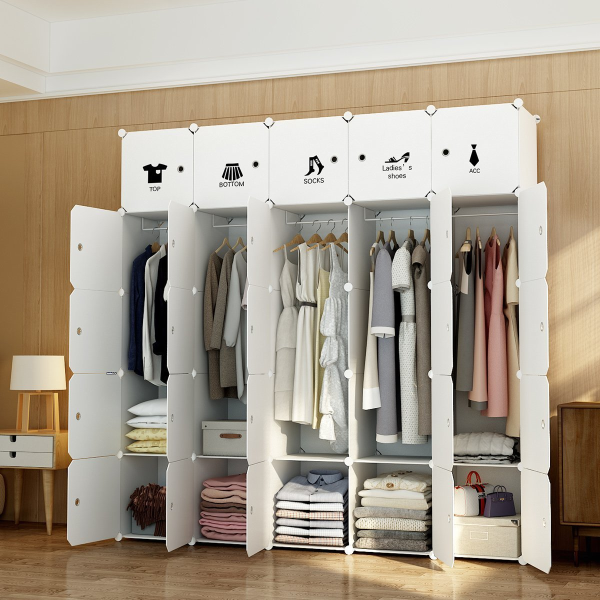 MAGINELS Portable Wardrobe Closet Armoire Cube Storage Organizer for Clothes Bedroom with Drawer White (10 Cubes & 5 Hanging Sections)