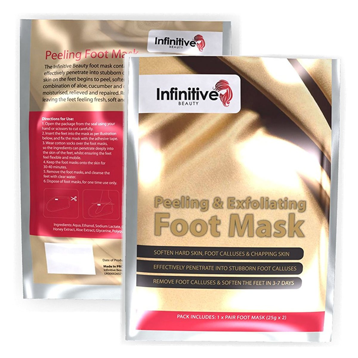 10 x Pairs Of Exfoliating Foot Mask Peeling Feet Masks Pair, Exfoliator, Exfo... by Infinitive Beauty