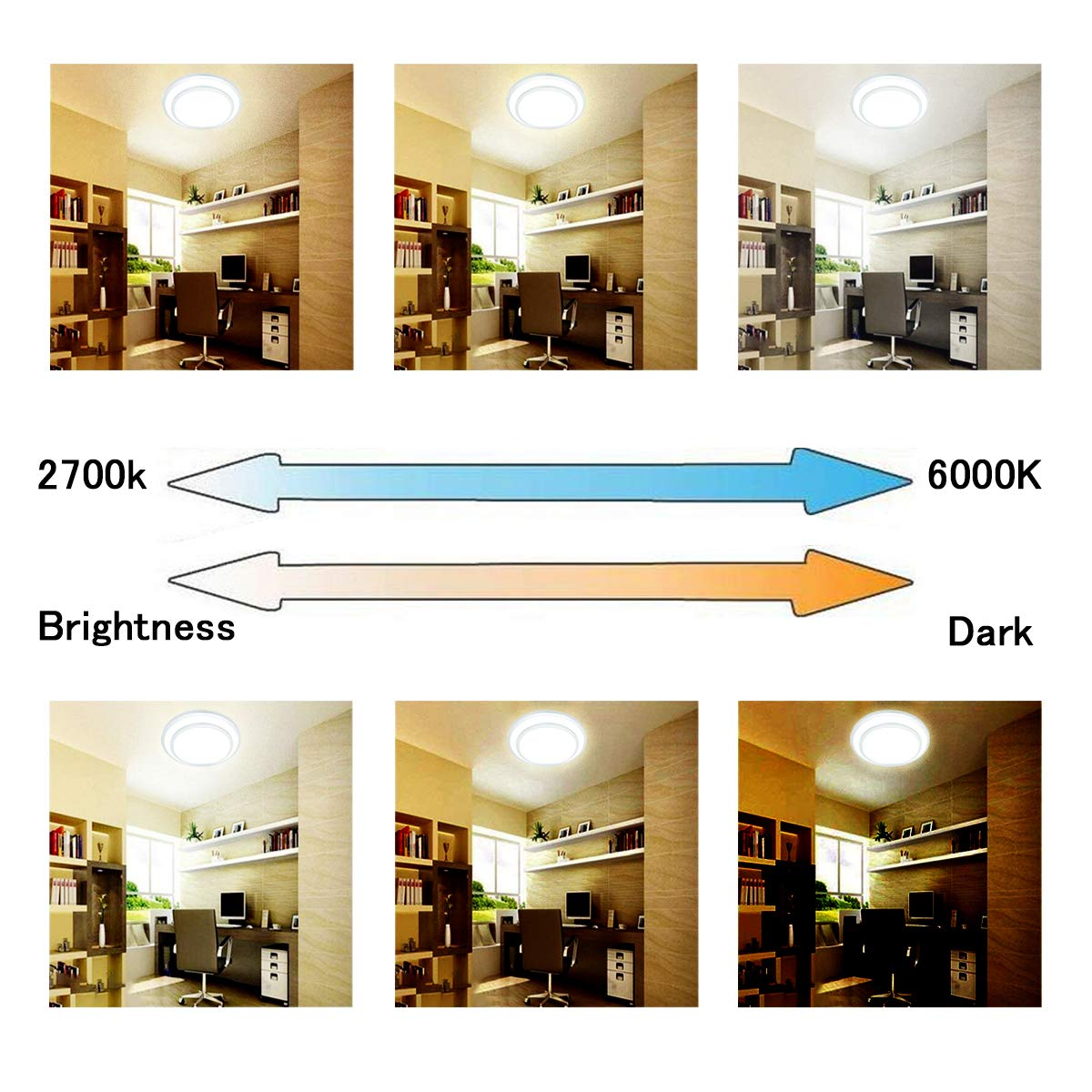 DLLT 48W Dimmable Led Flush Mount Ceiling Light Lighting with Remote-20 Inch Close to Ceiling Lights Fixture for Bedroom/Living Room/Dining Room, 3000K-6000K Color Changeable by DINGLILIGHTING (Image #6)