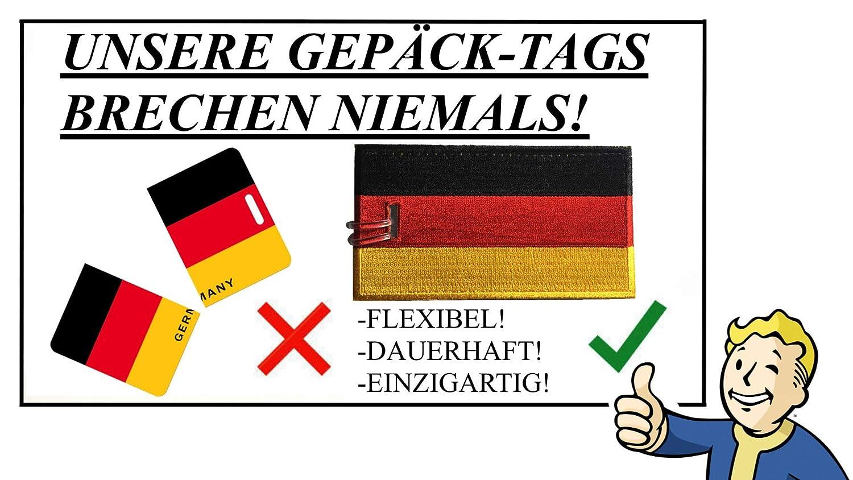 Deutsche Flagge 9 FARBEN bestickt Kofferanh/änger 2 Pack NIE PAUSE!
