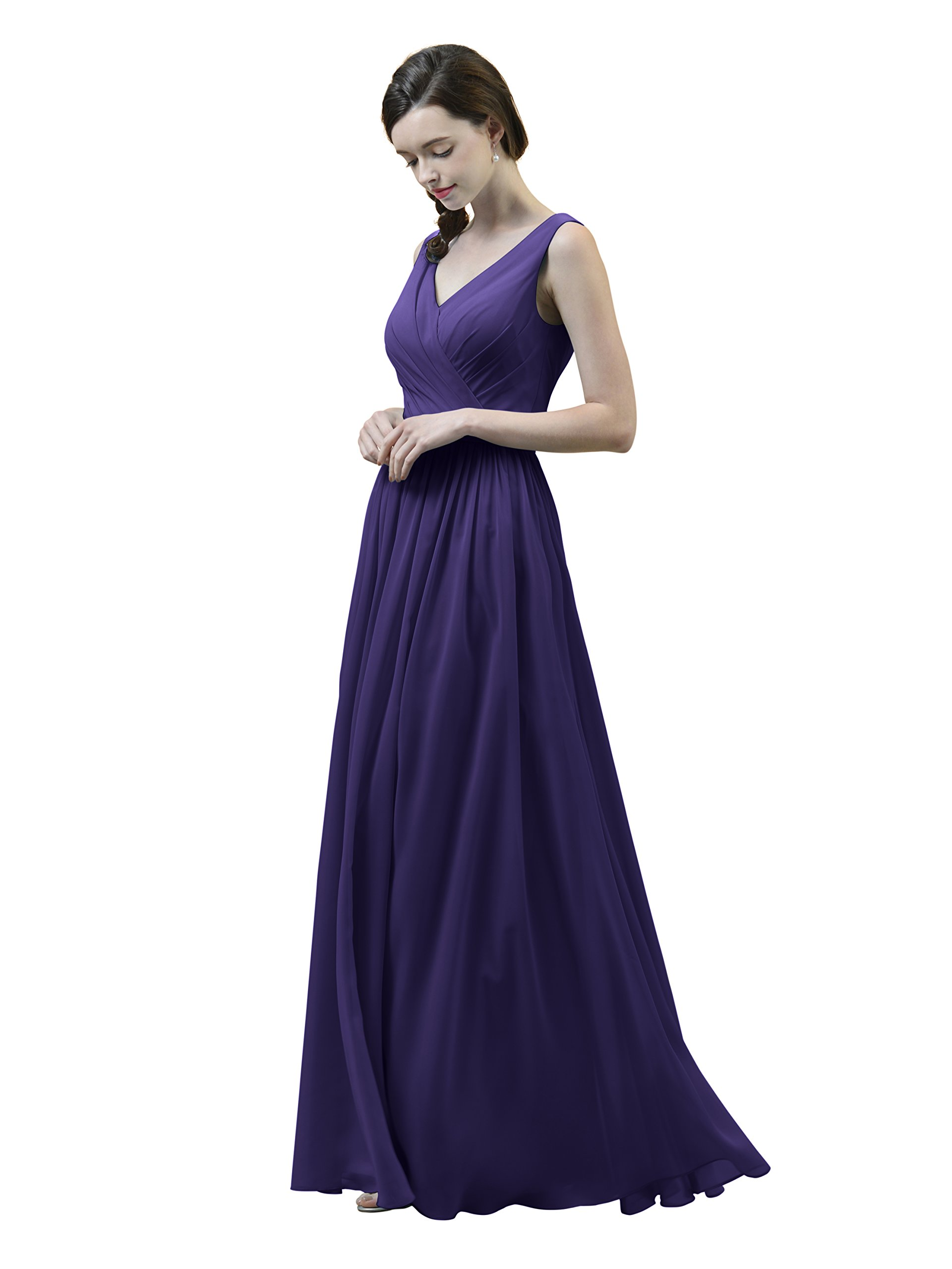 Alicepub Asymmetric Long Bridesmaid Dress Maxi Chiffon Bridal Party Evening Gown