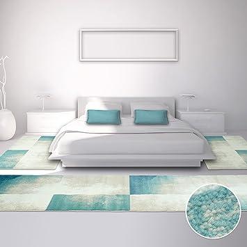 Carpet City Bettumrandung Für Schlafzimmer, Flachflor In Pastellblau, Creme  Mit Modernen Vintage Design