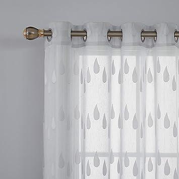 Deconovo Lot de 2 Double Voilage Gris pour Decoration Chambre Fille Ado  Rideau à Oeillets Transparent Jacquard Orné de Grandes Gouttes de Pluie ...