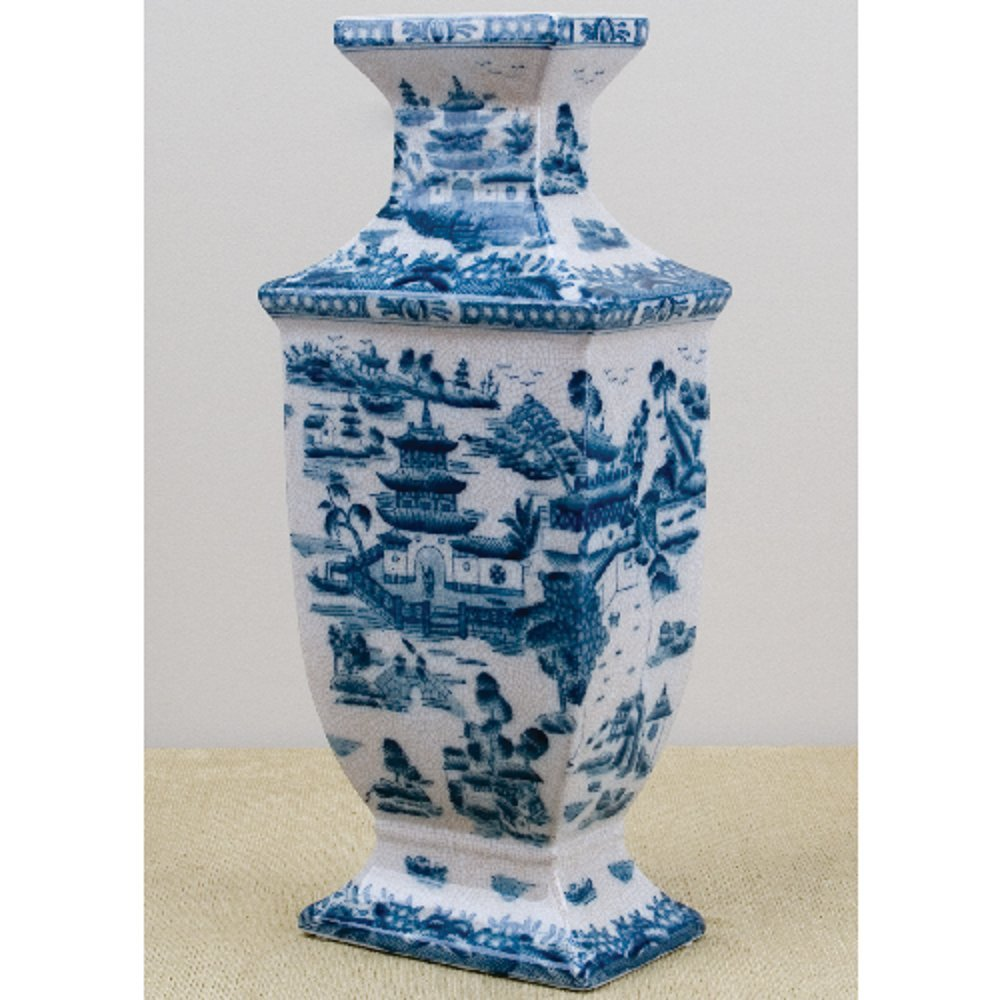 Home decor. Blue and White Oriental Vase. Dimension: 7 x 4.5 x 16. Pattern: Blue Willow.