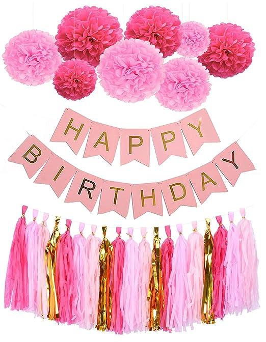 Mono casa feliz cumpleaños Banners Lovely pompones de papel flores de papel con borlas guirnaldas para 1st 18th 21th 41th 51th cumpleaños fiesta ...