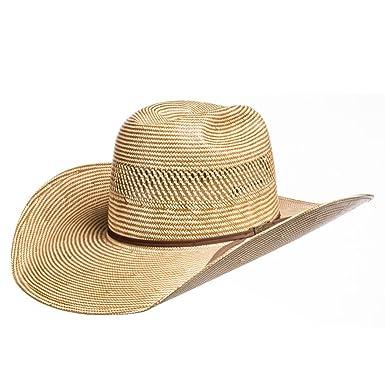 c8b5ba8ae03 American Hat Company Mens Ivory Chocolate 4 1 4 Brim Straw Cowboy ...