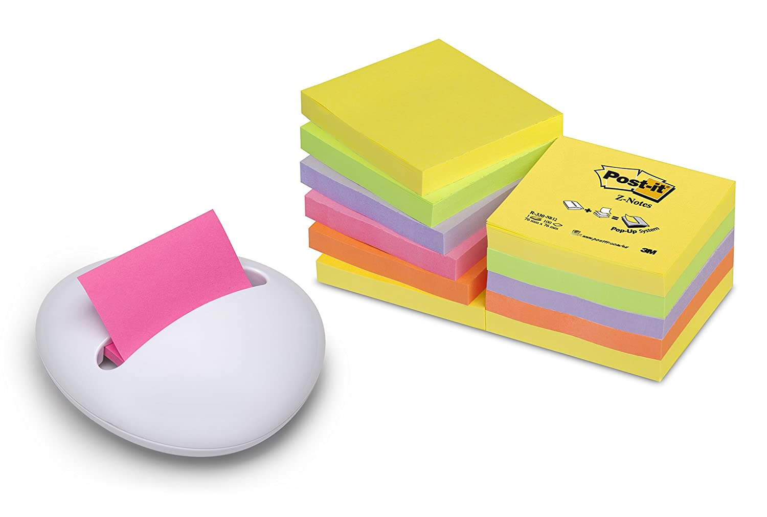 Post-it 74296 Dispenser da Tavolo Ricaricabile e 1 Post-it Blocchetto Fogli Adesivi, 76 x 76, Giallo Banana 3M B330-1RG