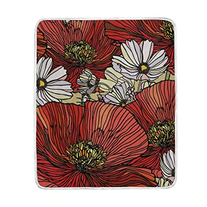elegence z  : Frezi-z Soft Throw Blanket Elegance Poppy Flowers Print ...