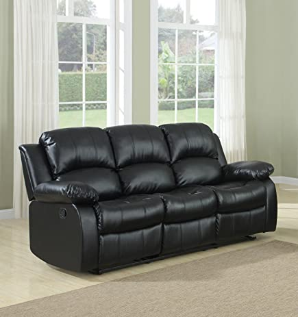 Amazoncom Bonded Leather Double Recliner Sofa Kitchen Dining