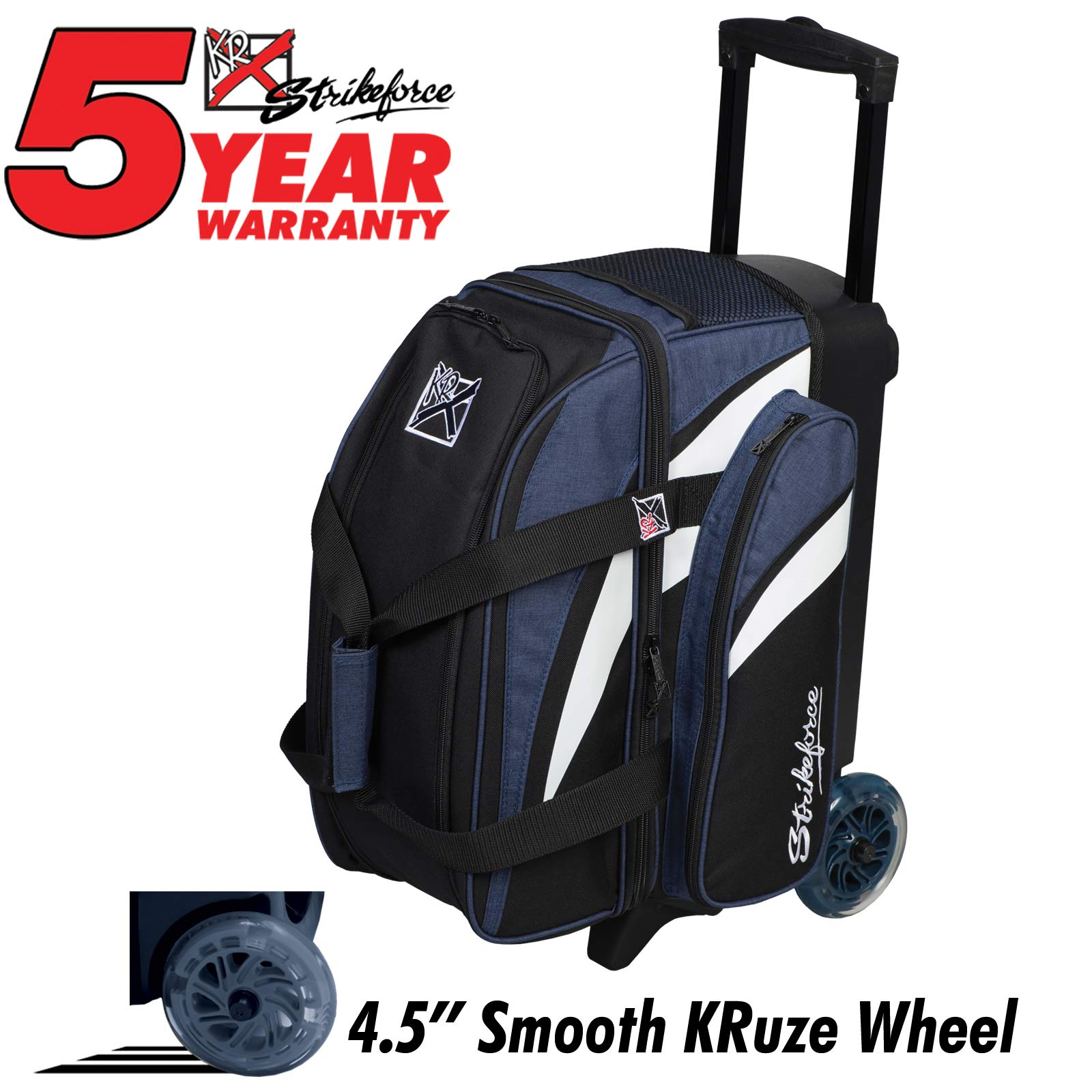 Strikeforce Cruiser Double Roller Bowling Bag Navy/White/Black