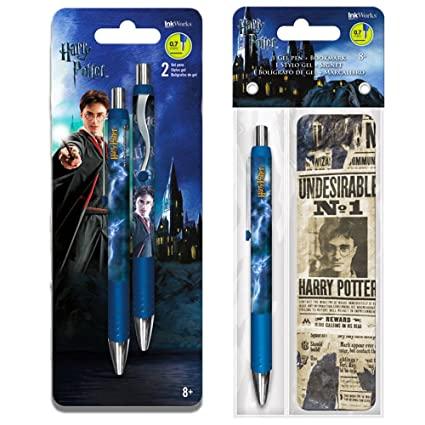 Inkworks Harry Potter Gel Pens Set -- 3 Premium Gel Pens with Harry Potter Bookmark