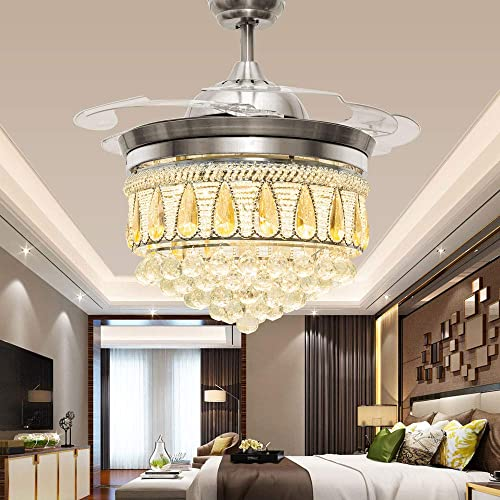Crystal Ceiling Fan Light 3 Colors Change Remote Control Chandelier 42Inch Silver For Home