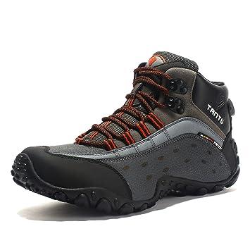 Herren Trekking Wanderstiefel aus Leder Trekkingschuhe Wanderschuhe Atmungsaktiv ComfortWeiche Halbhoch Trekkingstiefel zum Schnürung Wasserdicht
