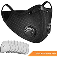 Dust Breathing Mask with Activated Carbon N99 Filters for Pollen Allergy Woodworking Mowing Running Cycling Outdoor Activities (Black)
