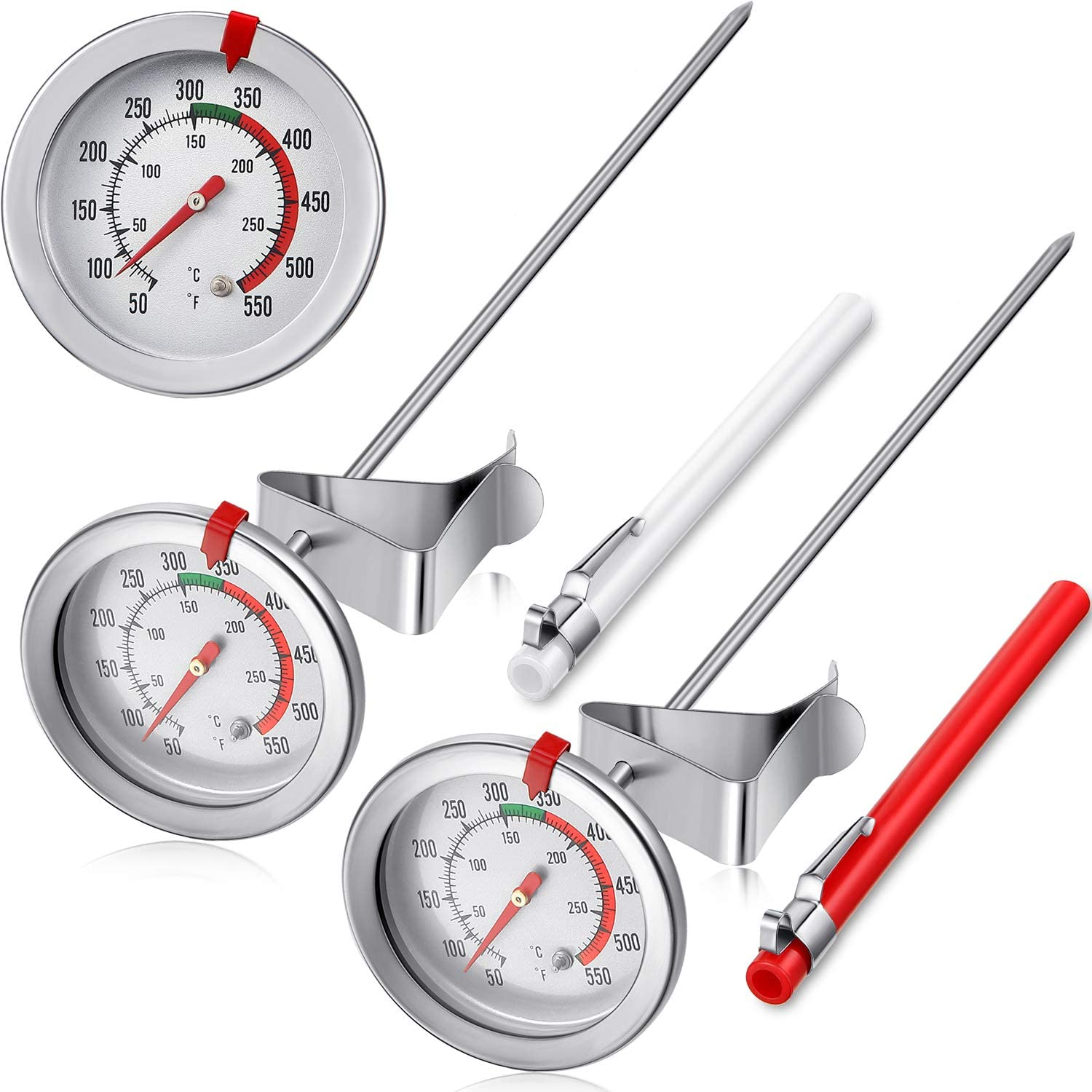 2 Pieces Stainless Steel Thermometer Instant Read 2 Inch Dial Thermometer 7.8 or 11.8 Inch Long Stem Fry Thermometer with Metal Retaining Clip and 2 Pieces Plastic Sleeves (11.8 Inch)