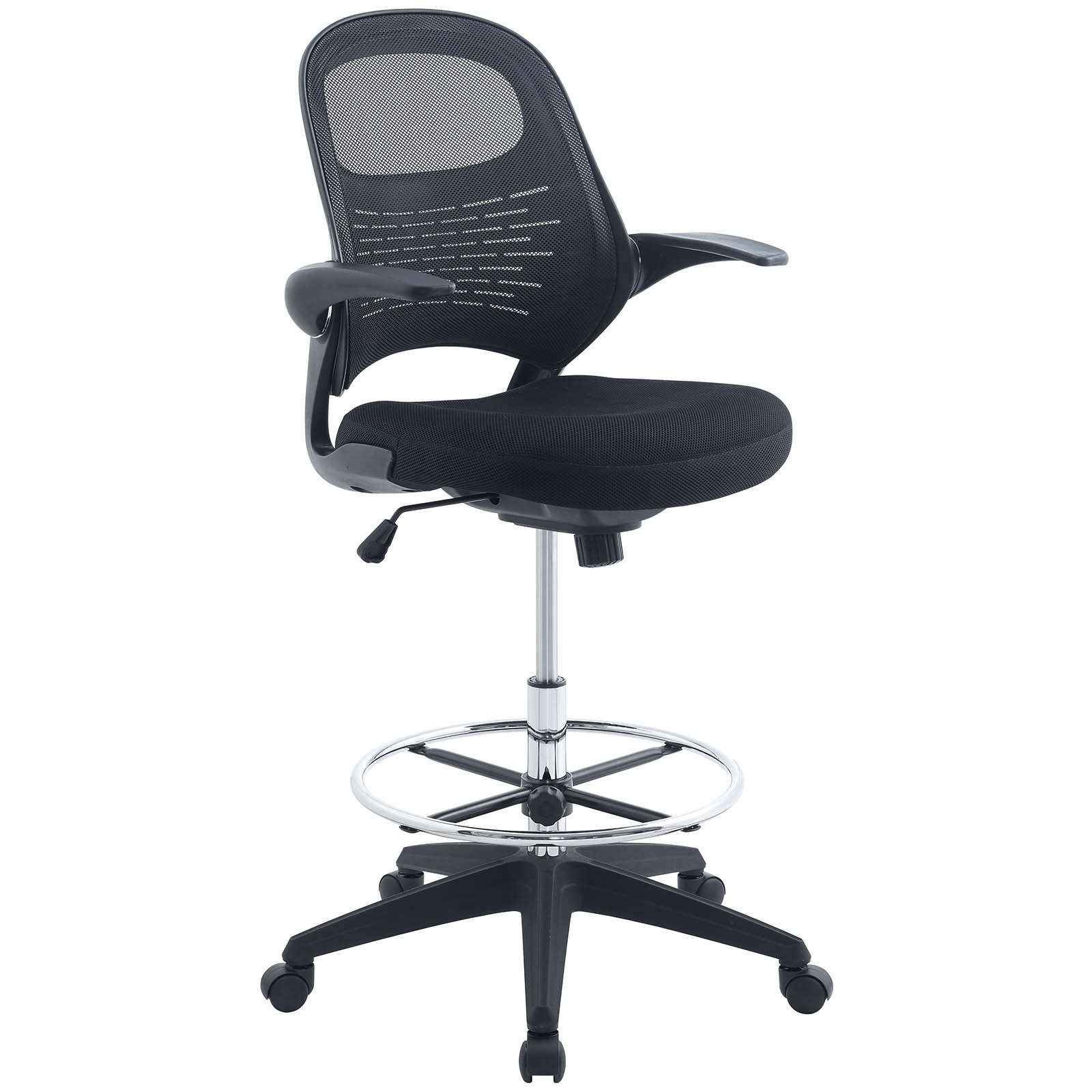 Modway Stealth Drafting Chair In Black - Reception Desk Chair - Tall Office Chair For Adjustable