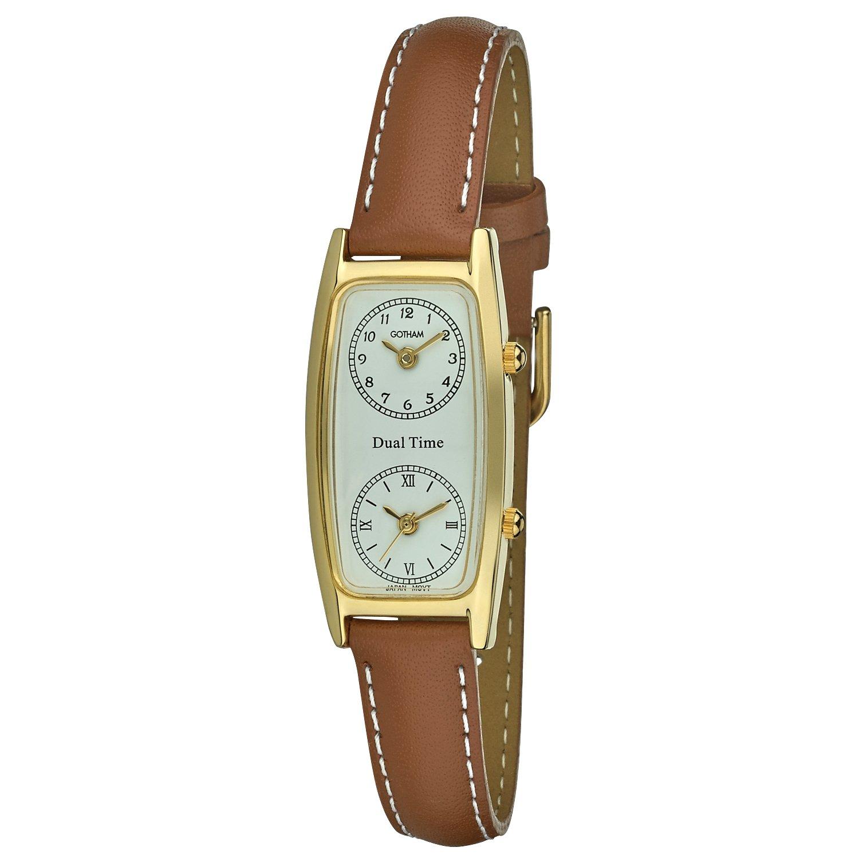 Gotham Women's Gold-Tone Dual Time Zone Leather Strap Watch # GWC15091TN
