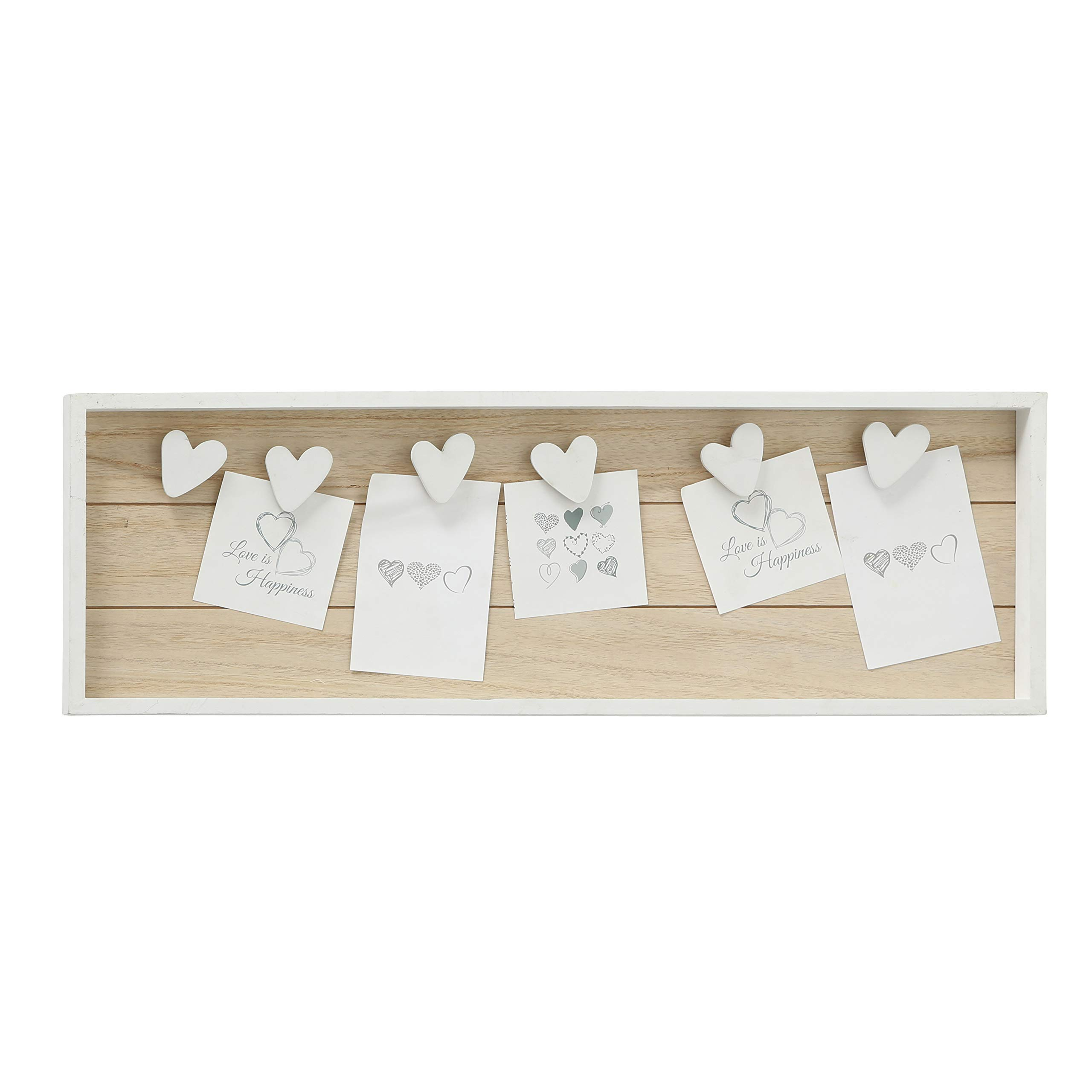 WHW Whole House Worlds Farmers Market Clothespin Memo Board, 6 Heart Clips, Twine Detail, Rustic Ship Lap, Contrast White Frame, Easy-Mount Saw Tooth Hangers by WHW Whole House Worlds