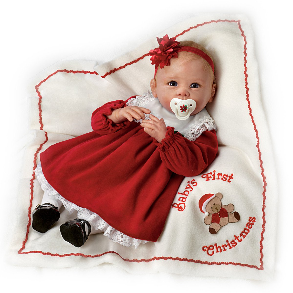 amazoncom 21 ashton drake babys first christmas with basket and teddy bear signature edition doll new 2014 0302034001 think christmas by the - Babys First Christmas Photos