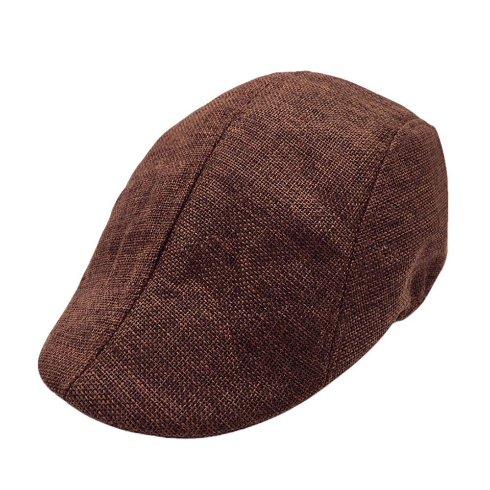 Men Summer Breathable Beret Flat Cap Visor Hat Sun Cap Casual Mesh Solid Low Profile Hat Vintage Trucker Cap (Brown)