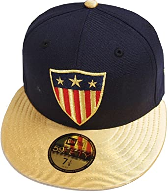4a687a65e9365 Amazon.com  New Era Captain America Navy Gold Marvel DC Cap 59fifty 5950  Fitted Basecap Kappe Men Special Limited Edition  Clothing