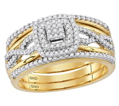 Amazon.com: 10 K oro juego de anillos de boda 3/8ctw ...