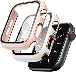 Lovrug 2 Pack Cases Compatible with Apple Watch Case 42mm Series 3/2/1 Built in Tempered Glass Screen Protector Ultra-Thin Bumper Full Coverage iWatch Protective Cover for Women Men (Pink/White)