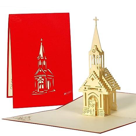 Carte Invitation Mariage Religieux Avec Eglise Pop Up En 3d