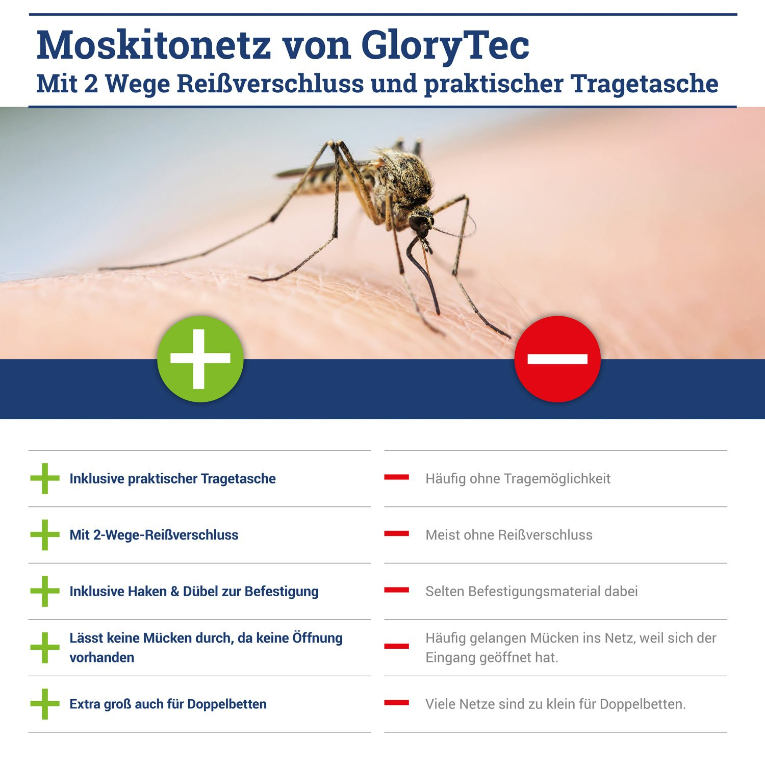 Mosquito Net - COMPARISON WINNER 2018* - With 2-Way Zipper for Double Bed and Single Bed - Plus Travel Carrying Bag - XXL Mosquito Net Protects Effectively Against Insects and Mosquitoes - Ideal for Travelling - by GloryTec