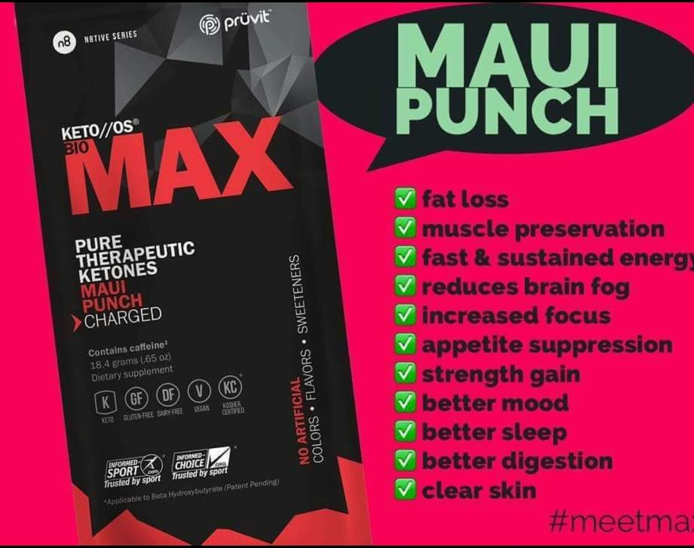 KETO//OS MAX Maui Punch CHARGED, Provides Sharp Energy Boost, Promotes Weight Loss and Burn Fats through Ketosis 9 sachets by Generic