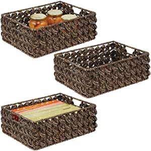 mDesign Woven Seagrass Kitchen Cabinet Pantry Storage Organizer Basket Bin with Handles - Store Fruit, Snacks, Cereal, Oil and Vinegar, Baking Supplies, Pastas, Packets, 3 Pack - Brown Wash
