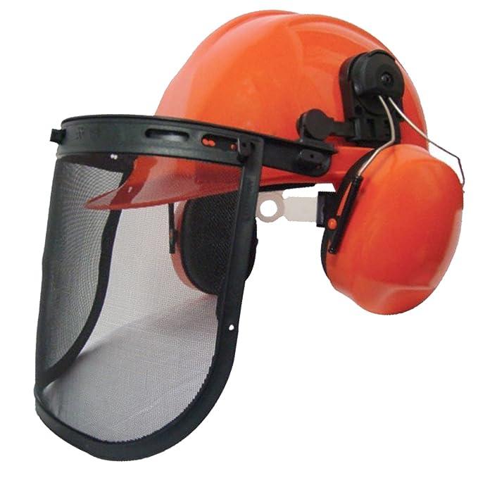 Casco de seguridad para usar con motosierra de Spares2go Rocwood, con visera de malla y orejeras: Amazon.es: Bricolaje y herramientas