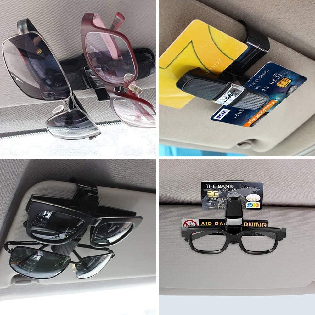 Car Glasses Cases,Sunglasses Holder Clip Hanger Eyeglasses Mount,180 Degree Rotational Ticket Card Clip,Double-Ends Clip Glasses Holder for Car Sun Visor Carbon Fiber Silver Car Glasses Holder