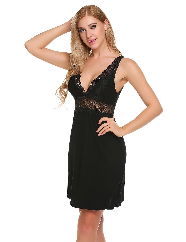 a401815a642 Goldenfox Women s Chemise Nightgown Sleepwear Lace Loungewear Dress (Black