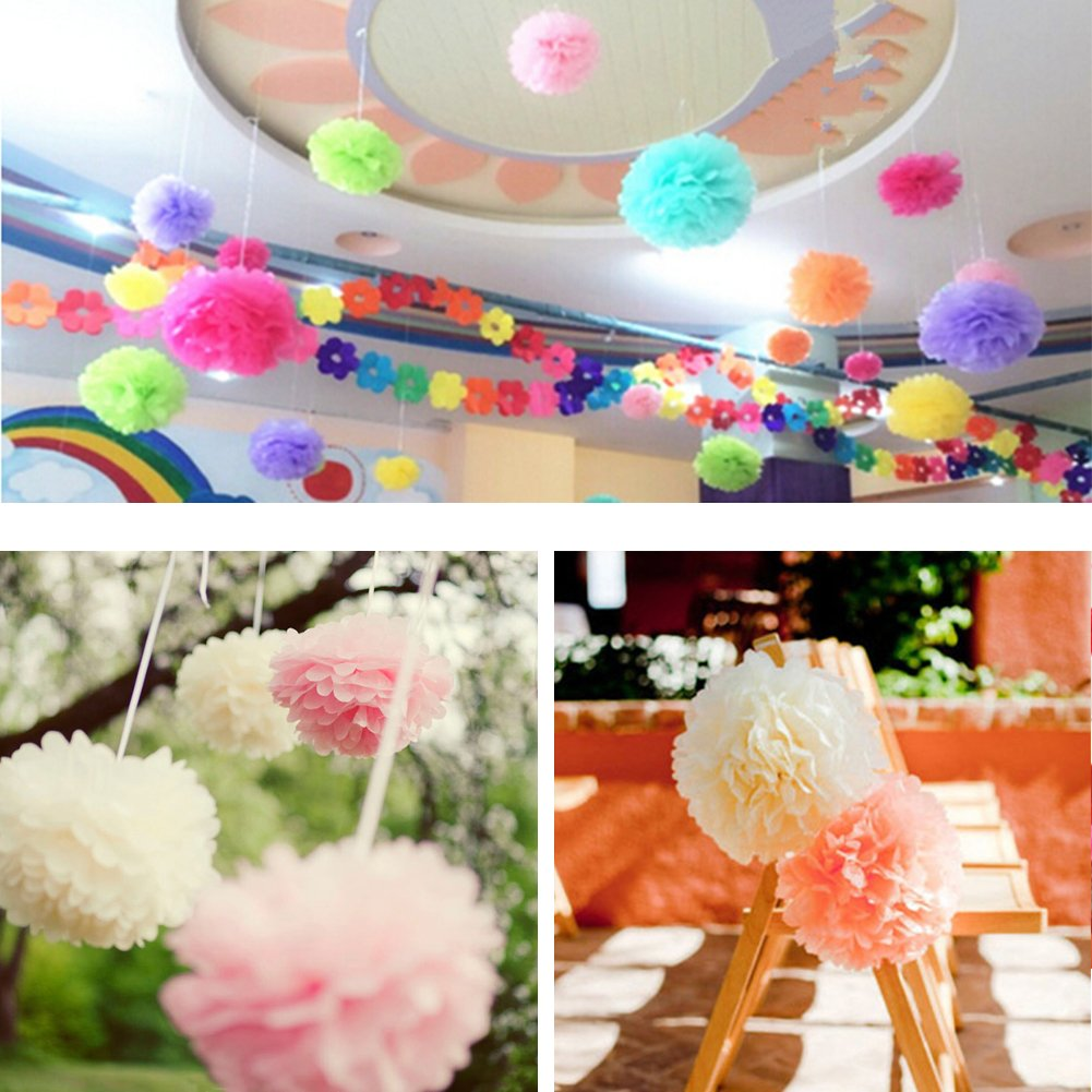 Tissue Paper Pom Pom Flowers Baby Shower Birthday Wedding Party Decorations 12 pcs Hanging Pom Poms,8'' 10'' Rose Pikn White by Jyukan (Image #8)